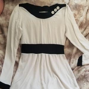 Mikarose white& black long leeved dress